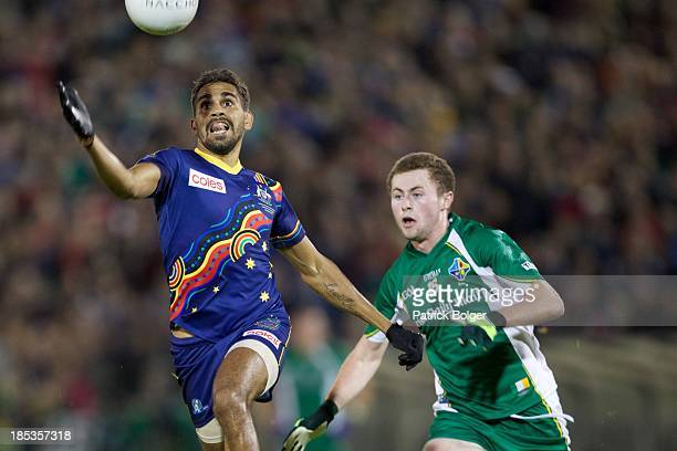 Lewis Jetta of Australia and Jack McCaffrey of Ireland compete for the ball during the International Rules 1st Test between Ireland and Australia at...