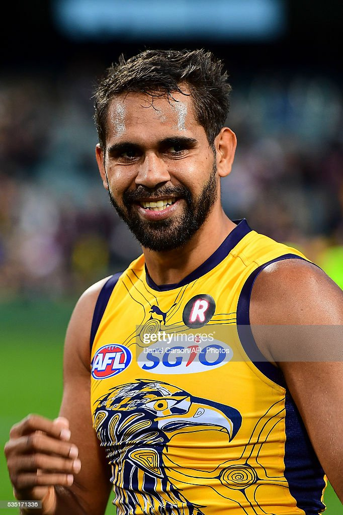 Lewis Jetta of the Eagles is happy with the win during the 2016 AFL Round 10 match between the West Coast Eagles and the Gold Coast Suns at Domain Stadium on May 29, 2016 in Perth, Australia.