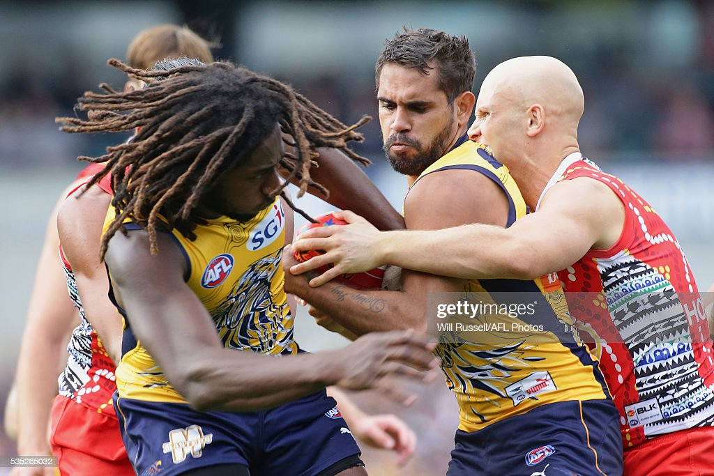 <a gi-track='captionPersonalityLinkClicked' href=/galleries/search?phrase=Lewis+Jetta&family=editorial&specificpeople=6544948 ng-click='$event.stopPropagation()'>Lewis Jetta</a> of the Eagles is tackled by <a gi-track='captionPersonalityLinkClicked' href=/galleries/search?phrase=Gary+Ablett&family=editorial&specificpeople=206196 ng-click='$event.stopPropagation()'>Gary Ablett</a> of the Suns during the round 10 AFL match between the West Coast Eagles and the Gold Coast Suns at Domain Stadium on May 29, 2016 in Perth, Australia.