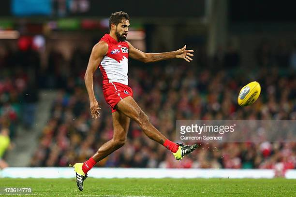 Lewis Jetta of the Swans kicks during the round 13 AFL match between the Sydney Swans and the Richmond Tigers at SCG on June 26 2015 in Sydney...