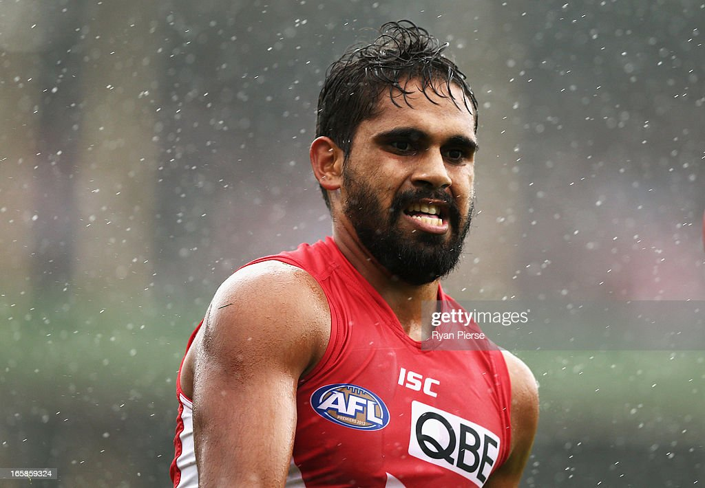<a gi-track='captionPersonalityLinkClicked' href=/galleries/search?phrase=Lewis+Jetta&family=editorial&specificpeople=6544948 ng-click='$event.stopPropagation()'>Lewis Jetta</a> of the Swans looks on during the round two AFL match between the Sydney Swans and the Gold Coast Suns at SCG on April 6, 2013 in Sydney, Australia.