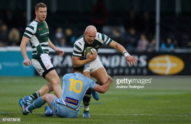 Lewis Jones of Ealing Trailfinders takes on the Yorkshire Carnegie defence during the Greene King IPA Championship Semi Final between Ealing...