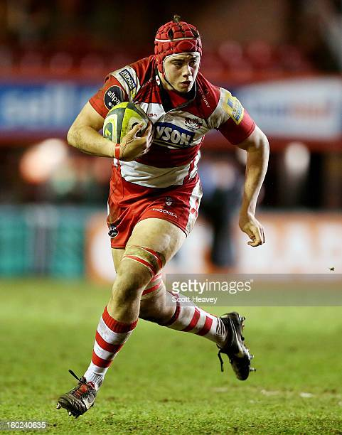 Lewis Ludlow of Gloucester in action during Leicester Tigers U18 and Gloucester U18 match at Welford Road on January 26 2013 in Leicester England