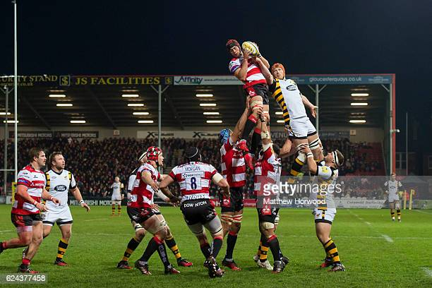 Lewis Ludlow of Gloucester Rugby and Kearnan Myall of Wasps compete for the ball during a lineout at the Aviva Premiership match between Gloucester...