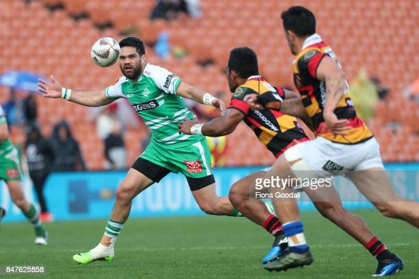 Lewis Marshall of Manawatu takes a pass during the round five Mitre 10 Cup match between Waikato and Manawatu at FMG Stadium on September 16 2017 in...