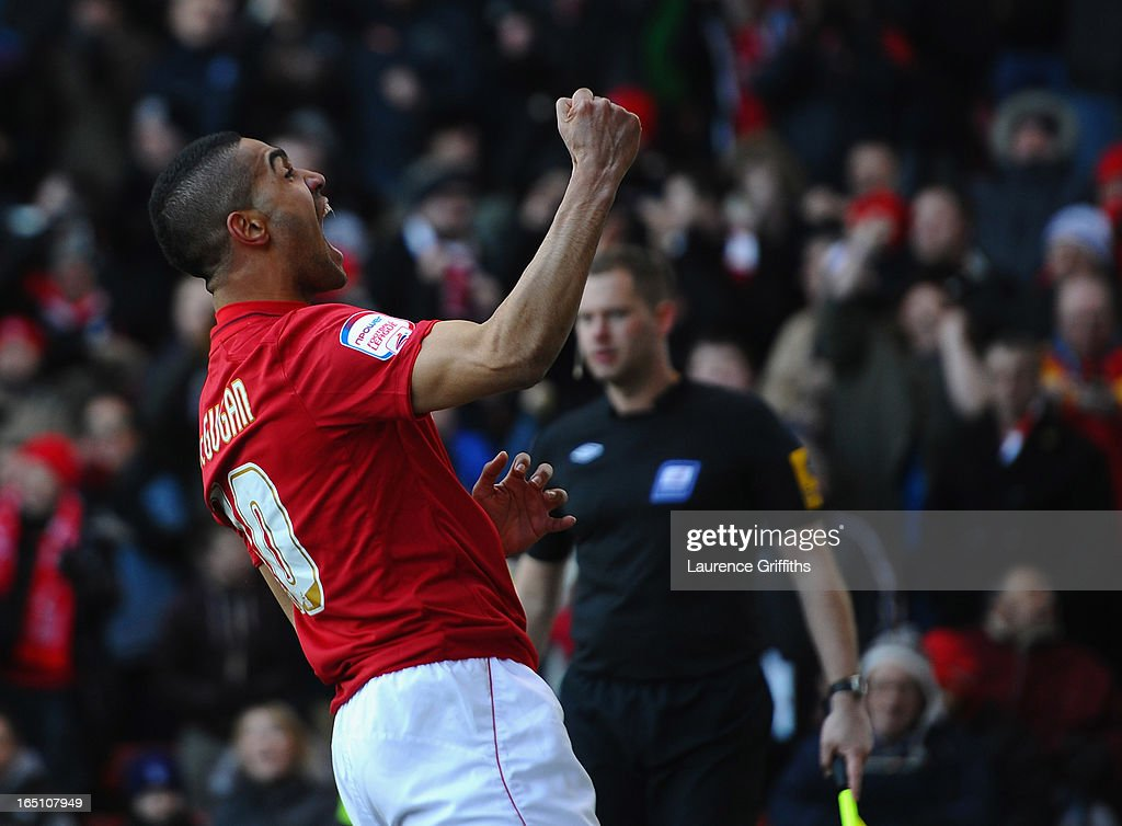 Lewis McGugan of Nottingham Forest celebrates his goal during the npower Championship match between Nottingham Forest and Brighton and Hove Albion at City Ground on March 30, 2013 in Nottingham, England.