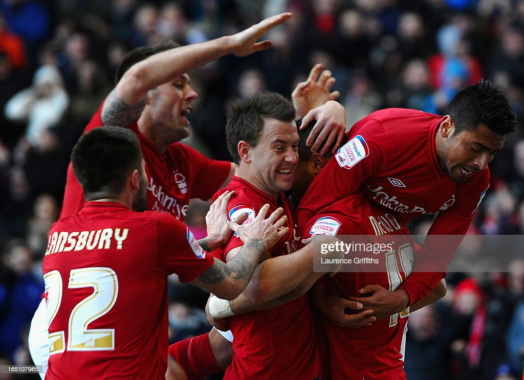 Lewis McGugan of Nottingham Forest is congratulated on scoring his goal during the npower Championship match between Nottingham Forest and Brighton and Hove Albion at City Ground on March 30, 2013 in Nottingham, England.