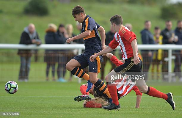 Lewis McNall of Newcastle breaks through on goal during the U18 Premier League match between Sunderland FC U18's and Newcastle United FC U18's at The...