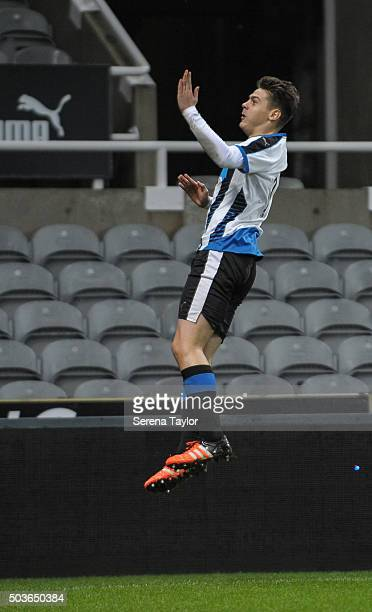 Lewis MCnall of Newcastle celebrates after scoring the equalising goal during the U18 FA Youth Cup Match between Newcastle United and AFC Wimbledon...