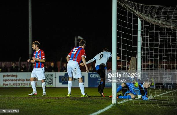 Lewis McNall of Newcastle celebrates after scoring the opening goal during the U18 FA Youth Cup Match between Ilkeston and Newcastle United at The...