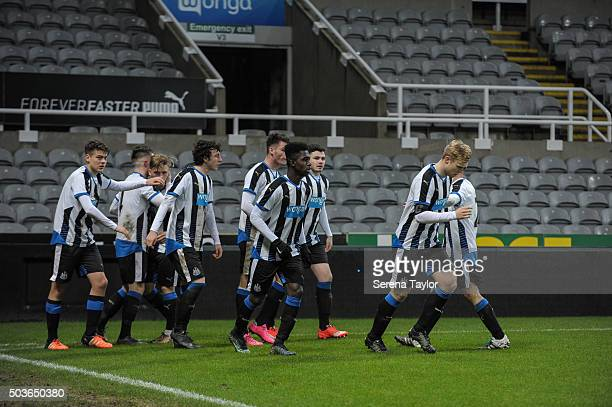 Lewis MCnall of Newcastle celebrates with teammates after scoring the equalising goal during the U18 FA Youth Cup Match between Newcastle United and...