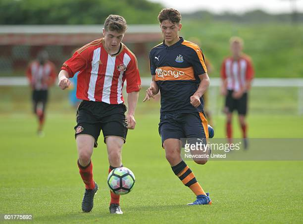 Lewis McNall of Newcastle chases down Jordan Hickey of Sunderland during the U18 Premier League match between Sunderland FC U18's and Newcastle...