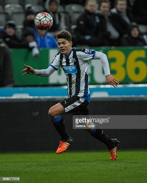 Lewis McNall of Newcastle looks to control the ball during the Barclays Premier League U21 match between Newcastle United and Stoke City at StJames'...