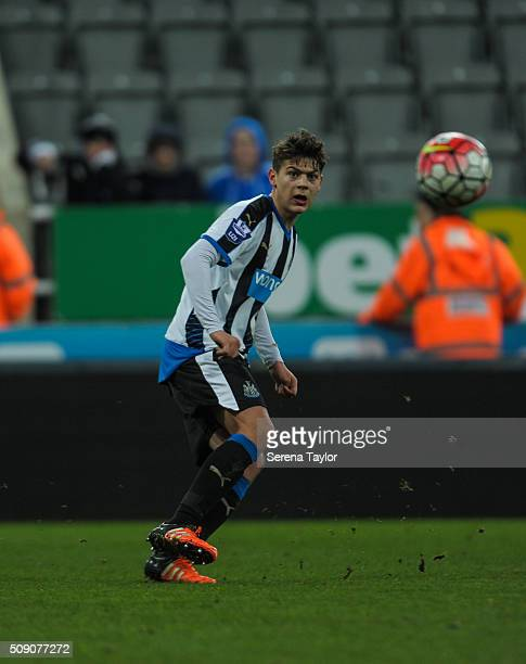 Lewis McNall of Newcastle passes the ball during the Barclays Premier League U21 match between Newcastle United and Stoke City at StJames' Park on...