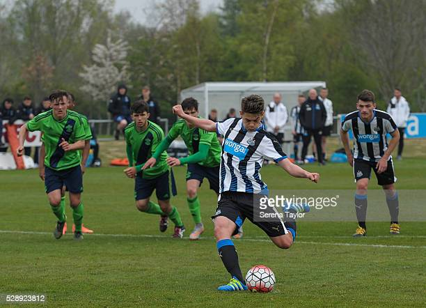 Lewis McNall of Newcastle takes a penalty and scores their fourth goal during the U18 Premier League Match between Newcastle United and Southampton...