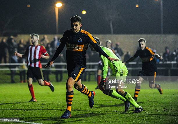 Lewis McNall of Newcastle United celebrates after scoring Newcastle's fourth and winning goal during the Fifth round of the FA Youth Cup match...