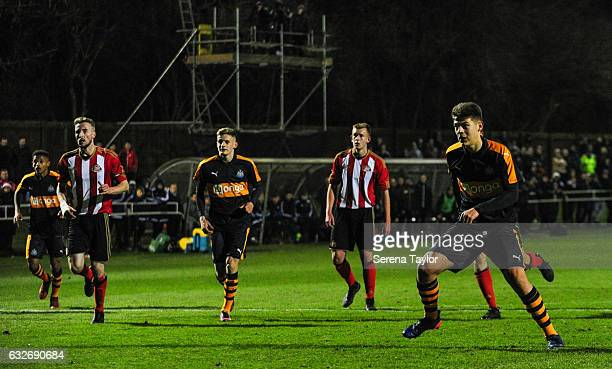 Lewis McNall of Newcastle United celebrates after scoring the opening goal from the penalty spot during the Fifth round of the FA Youth Cup match...