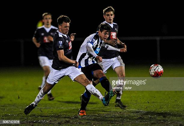 Lewis McNall of Newcastle United passes the ball during The Barclays Under 21 Premier League match between Newcastle United and Derby County at...