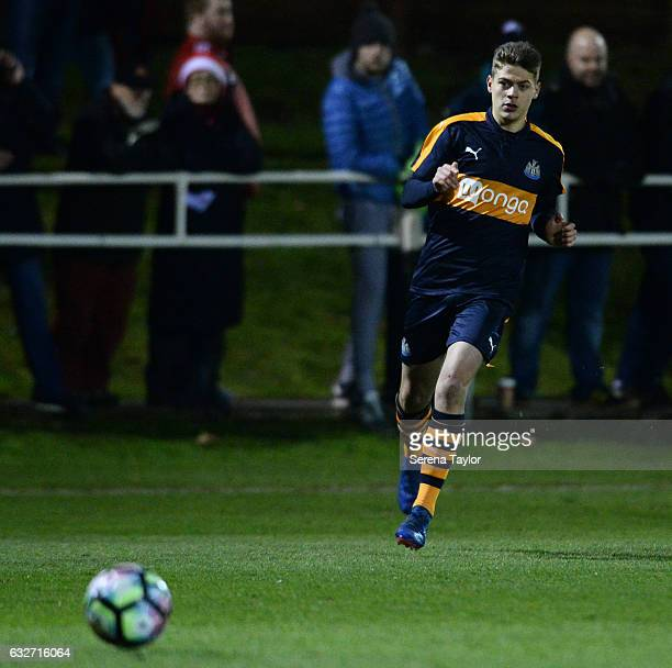 Lewis McNall of Newcastle United passes the ball during the Fifth round of the FA Youth Cup match between Sunderland and Newcastle United at Eppleton...