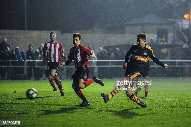 Lewis McNall of Newcastle United scores Newcastle's fourth and winning goal during the Fifth round of the FA Youth Cup match between Sunderland and...