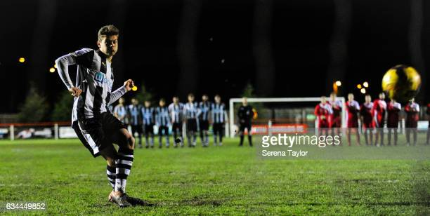 Lewis McNall of Newcastle United takes his penalty during the Northumberland Senior Cup Semi Final between North Shields and Newcastle United at...