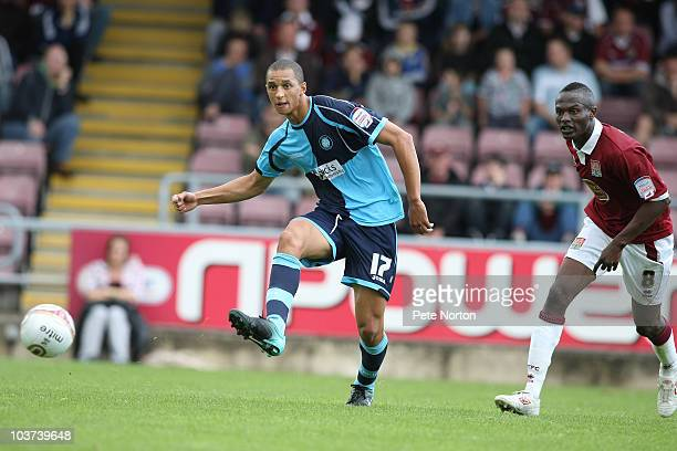 Lewis Montrose of Wycombe Wanderers in action during the npower LeagueTwo match between Northampton Town and Wycombe Wanderers at Sixfields Stadium...