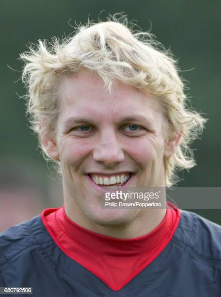 Lewis Moody of England during a training session prior to the Six Nations Championship match against Wales at Pennyhill Park in Bagshot Surrey on the...