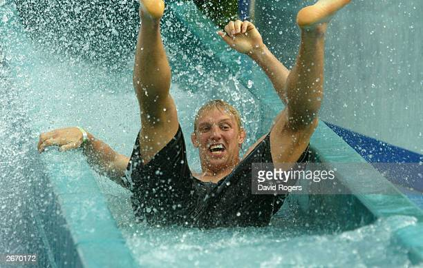 Lewis Moody of England enjoys the waterslide at the Wet 'n' Wild theme park October 28 2003 the Gold Coast Australia