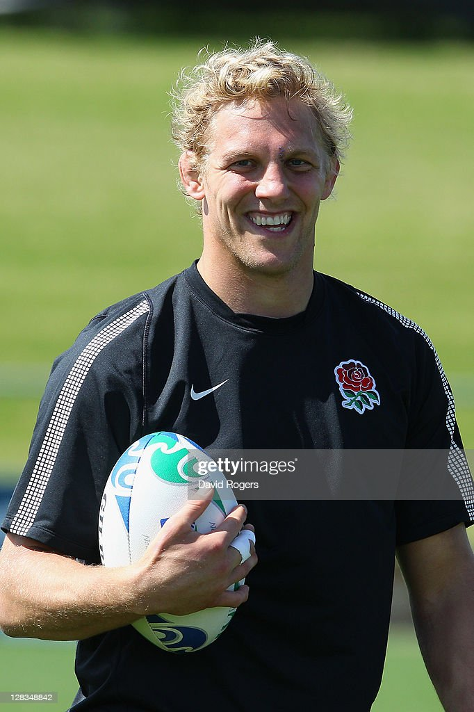 Lewis Moody of England smiles during an England IRB Rugby World Cup 2011 Captain's Run at Onewa Domain on October 7, 2011 in Takapuna, New Zealand.