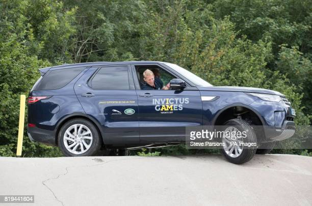 Lewis Moody tries out the Jaguar Land Rover Driving Challenge at the Land Rover Experience at Eastnor Castle part of the UK Team's training for...