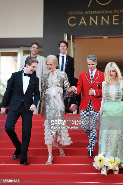 AJ Lewis Nicole Kidman John Cameron Mitchell and Elle Fanning depart after the 'How To Talk To Girls At Parties' screening during the 70th annual...