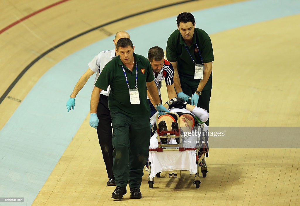 Lewis Oliva of Wales is stretchered off after crashing in the second round of the Men's Kierin during day two of the UCI Track Cycling World Cup at Sir Chris Hoy Velodrome on November 17, 2012 in Glasgow, Scotland.