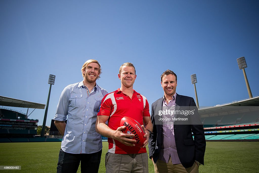 Lewis Roberts-Thomson, Jude Bolton and Ryan O'Keefe pose during a Sydney Swans AFL media session at Sydney Cricket Ground on September 24, 2014 in Sydney, Australia.