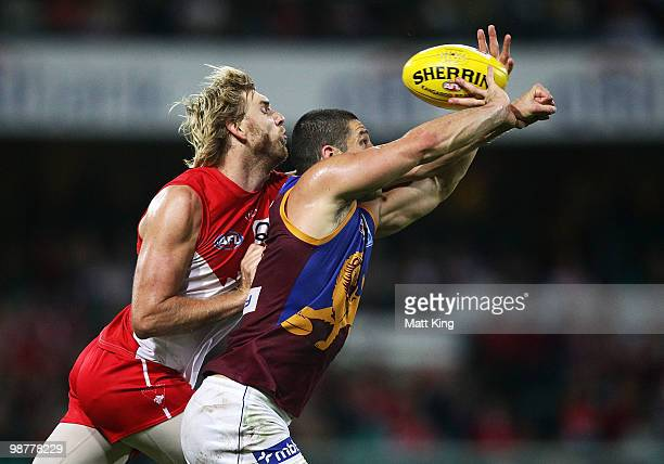 Lewis RobertsThomson of the Swans spoils Brendan Fevola of the Lions during the round six AFL match between the Sydney Swans and the Brisbane Lions...