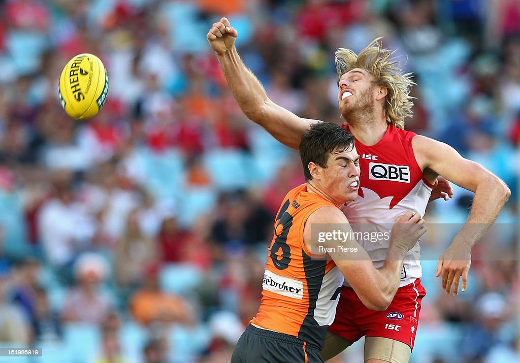 Lewis Roberts-Thomson of the Swans spoils Jeremy Cameron of the Giants during the round one AFL match between the Greater Western Sydney Giants and the Sydney Swans at ANZ Stadium on March 30, 2013 in Sydney, Australia.