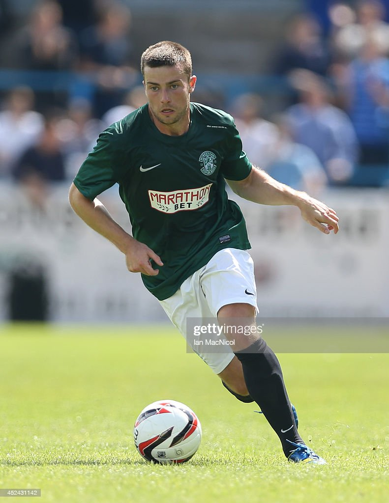 Lewis Stevenson of Hibernian controls the ball during the Pre Season Friendly match between Stirling Albion and Hibernian at Forthbank Stadium on July 20, 2014 in Stirling, Scotland.