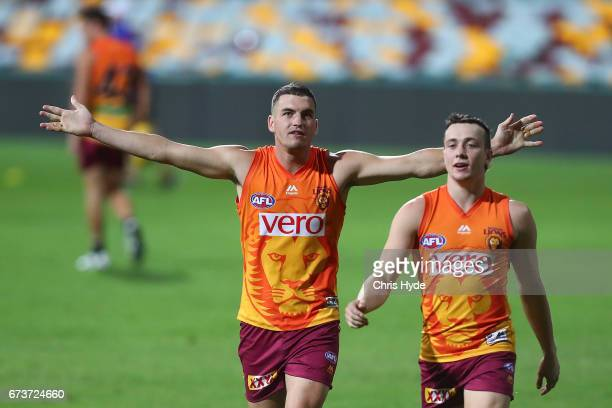 Lewis Taylor and Tom Rockliff during a Brisbane Lions AFL Training Session at The Gabba on April 27 2017 in Brisbane Australia