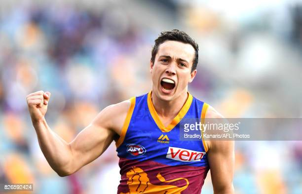 Lewis Taylor of the Lions celebrates a goal during the round 20 AFL match between the Brisbane Lions and the Western Bulldogs at The Gabba on August...