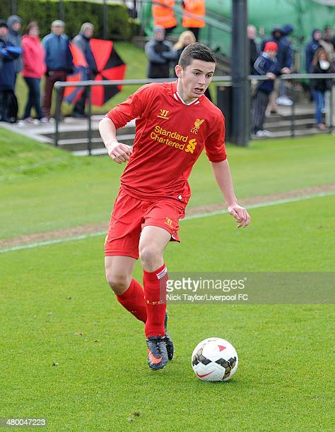 Lewis Travis of Liverpool in action during the Barclays Premier League Under 18 fixture between Liverpool and Manchester City at the Liverpool FC...