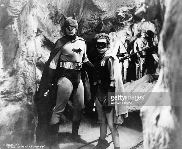 Lewis Wilson as Batman and Douglas Croft as Robin in a scene from the film 'Batman' 1943