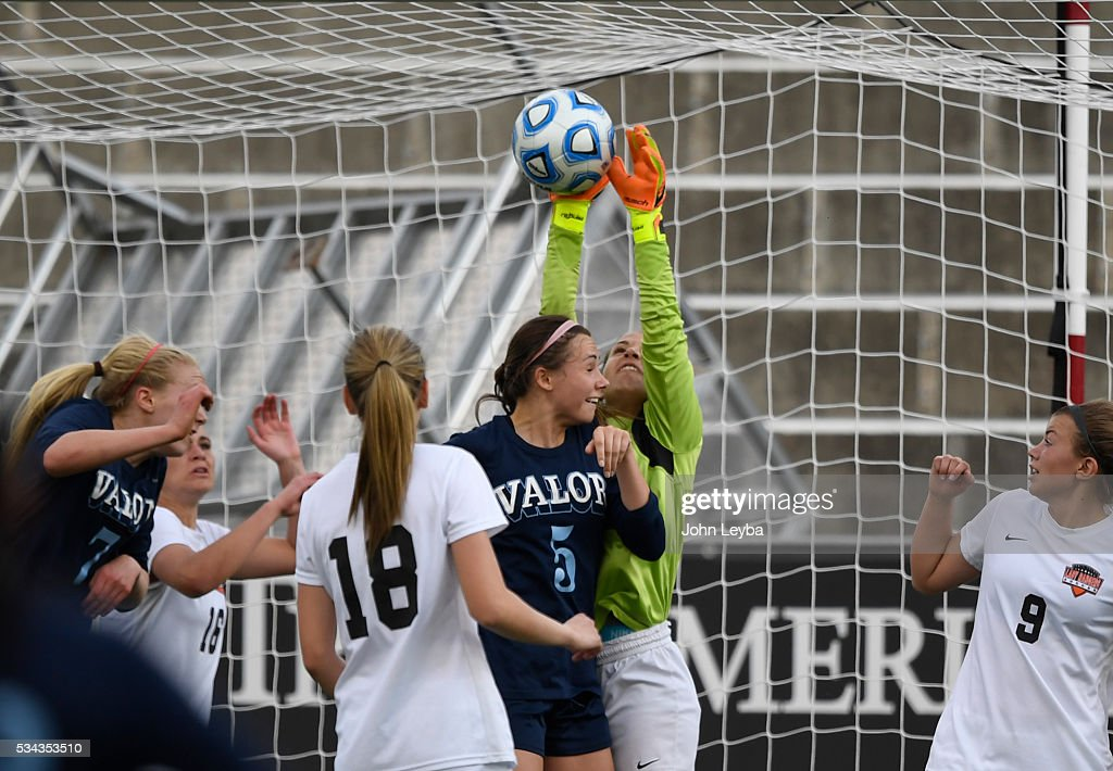 Lewis-Palmer Rangers gk Haley Arsenault (1) makes a big save on a corner kick by Valor Christian Eagles in the final minutes of the game during the 4A state soccer championship May 25, 2016 at Dicks Sporting Goods Park. Lewis-Palmer Rangers defeated Valor Christian Eagles 1-0 for the title.
