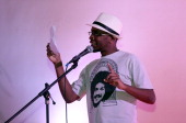 Lews Barbosa from Brazil takes part on June 4 2013 in Paris in the first round of the World Cup of poetry slam held until June 9 AFP PHOTO / JACQUES...