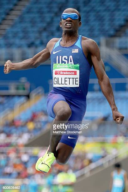 Lex Gillette of the United States competes in the men's long jump T11 on day 1 of the Rio 2016 Paralympic Games at Olympic Stadium on September 8...