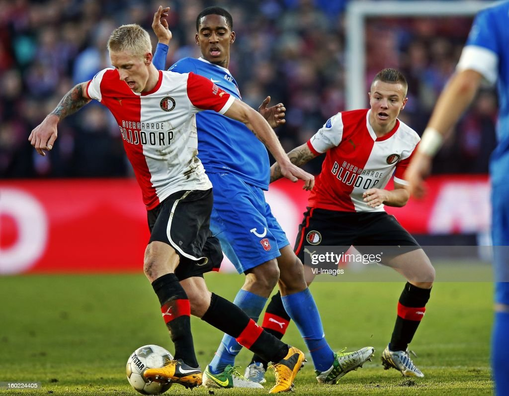 Lex Immers, Leroy Fer, Jordy Clasie during the Dutch Eredivise match between Feyenoord and FC Twente at stadium De Kuip on January 27, 2013 in Rotterdam, The Netherlands.