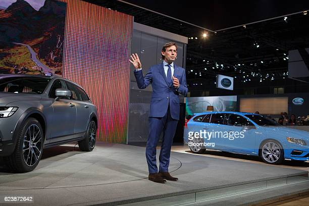 Lex Kerssemakers senior vice president of Americas for Volvo Cars of North America speaks while standing next to the Volvo AB V60 right and V90 Cross...