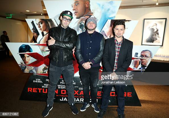Lex Larson DJ Felli Fel and Louie Rubio of The Americanos attend the LA Screening of Paramount Pictures 'xXx RETURN OF XANDER OF CAGE' at the...