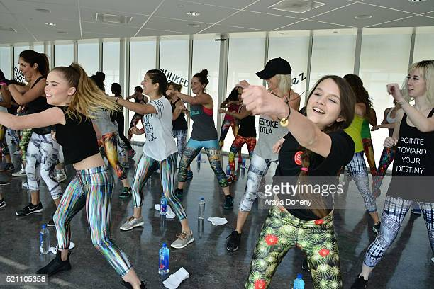 Lexee Smith and Chloe East attend Terez x SatiLife present Link Together Lead Together Los Angeles at Annenberg Beach House on April 13 2016 in Santa...