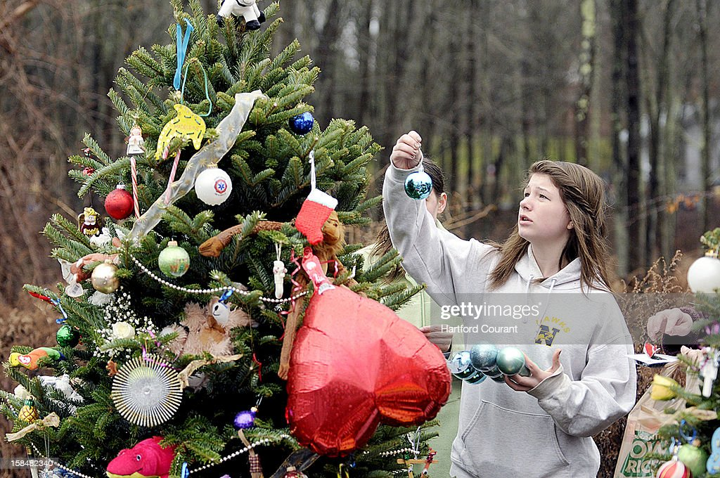 Lexi Badick, 14, hangs an ornament on a Christmas tree on Monday, December 17, 2012, in Newtown, Connecticut, dedicated to Noah Pozner, one of the children killed in Friday's shooting at Sandy Hook School. The tree is one of 26 trees donated by an anonymous donor from North Carolina. The trees have been decorated by well-wishers and line the road leading to the school.