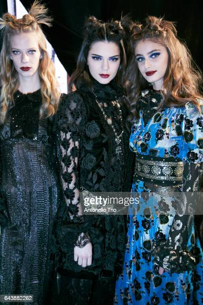 Lexi Boling Kendal Jenner and Taylor Hill poses backstage at Anna Sui Fall/Winter 2017 Show during New York Fashion Week at Gallery 1 Skylight...
