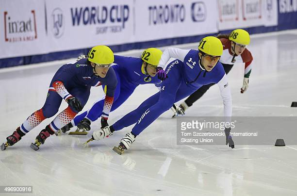 Lexi Burkholder of the United States competes against Veronique Pierron of France Ranya Ezzi of Sweden and Patricia Toth of Hungary on Day 1 of the...